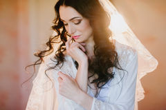 Portrait of a beautiful young brunette bride, smiling, boudoir, fees hairstyle, make-up, wedding, lifestyle Stock Photos
