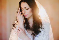 Portrait of a beautiful young brunette bride, smiling, boudoir, fees hairstyle, make-up, wedding, lifestyle Stock Image