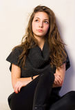 Portrait of beautiful young brunette girl. Royalty Free Stock Photography