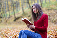 Portrait of beautiful young brunette girl reading a book in the. Park at fall Stock Photos