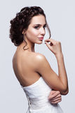 Portrait of beautiful young brunette woman bride in white Weddin Royalty Free Stock Photography