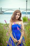 Portrait of beautiful young brunette woman on the meadow near river. Portrait of beautiful young brunette woman, wearing elegant blue dress, standing on a meadow Stock Images