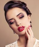 Portrait of Beautiful young brunette woman Royalty Free Stock Photography