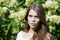 Portrait of beautiful young brunette woman in spring blossom Stock Photo