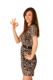 Portrait of beautiful young business woman showing excellent sig Stock Photo