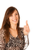 Portrait of beautiful young business woman showing excellent sig Stock Photos