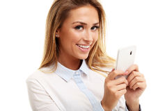 Portrait of Beautiful Young Business woman using mobile phone isolated on white background Stock Photo