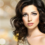 Portrait of a Beautiful young caucasian sexy woman with broun cu Royalty Free Stock Images