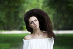 Portrait of a beautiful young caucasian woman with flying long hair, clean skin and casual makeup Stock Image