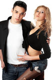 Portrait of beautiful young couple royalty free stock photo