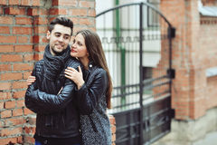 Portrait of a beautiful young couple Stock Photos
