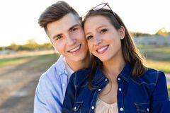 Beautiful young couple in love in the park. Stock Image