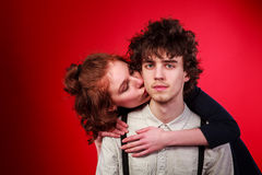 Portrait of a beautiful young couple love romance royalty free stock photos