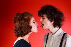 Portrait of a beautiful young couple love romance stock image
