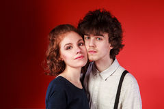 Portrait of a beautiful young couple love romance stock images