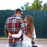 Portrait of beautiful young couple together in the city Royalty Free Stock Images