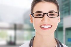 Portrait of a beautiful young doctor woman. Stock Images