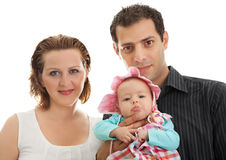 Portrait of beautiful young family against white Stock Photo