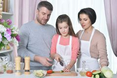 Portrait of beautiful young family cooking together at kitchen stock photos