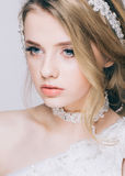 Portrait of Beautiful Young Fashion  Bride Isolated on White Background. Stock Photo