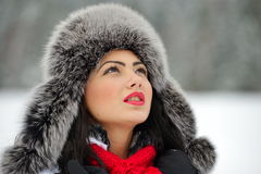 Portrait of beautiful young female in luxurious fur head cloth Royalty Free Stock Image
