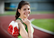 Portrait of a beautiful young female sprinter Royalty Free Stock Photo