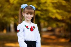 Portrait of beautiful young first-grader in festive school uniform on background autumn park. Beginning of lessons stock image