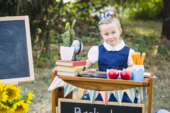 Portrait of a beautiful young first-grader sitting at a desk Stock Photos