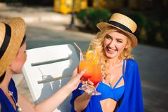 Portrait of a beautiful young friends smiling and drinking cocktails in a pool. stock photos