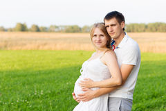 Portrait of beautiful young future parents outdoors Stock Photography
