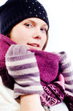 Portrait of a beautiful young girl. In winter clothing Stock Image