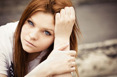 Portrait of beautiful young girl Stock Image