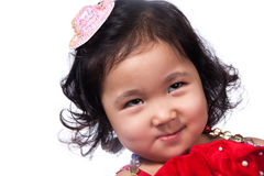 Portrait asian girl. Portrait of a beautiful young girl of Asian, closeup, isolated on white Stock Images