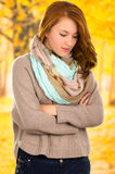 Portrait of beautiful young girl in autumn fall Stock Photo