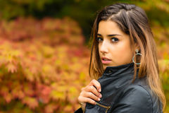 Portrait of beautiful young girl with a background of autumn lea Stock Photos