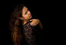 Portrait of beautiful young girl in black Stock Photos