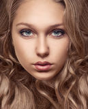 Portrait of beautiful young girl with brown hair Royalty Free Stock Photography
