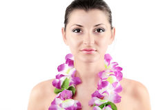 Portrait of beautiful young girl with clean skin and wreath flow Stock Photography