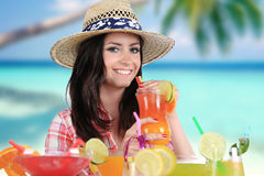 Portrait of a beautiful young girl with cocktail Stock Photography