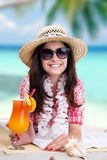 Portrait of a beautiful young girl with cocktail Royalty Free Stock Photography