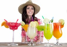 Portrait of a beautiful young girl with cocktail Royalty Free Stock Image