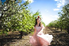 Portrait of a beautiful young girl in a flying bride tender pink dress on a background of green field, she laughs and poses with a Stock Image