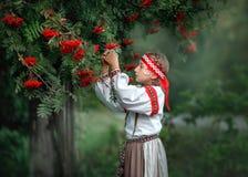 Portrait of a beautiful young girl in folk dress near a Rowan tree