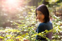 Young girl in the forest. Portrait of a beautiful young girl in the forest Stock Photos