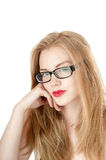 Portrait of beautiful young girl in glasses. Royalty Free Stock Photo