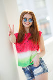 Portrait of beautiful young girl with gorgeous red hair Stock Photography