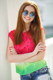 Portrait of beautiful young girl with gorgeous red hair Stock Photos