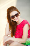 Portrait of beautiful young girl with gorgeous red hair Royalty Free Stock Images