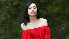 Portrait of a beautiful young girl with green eyes and bare shoulders, in a red dress on a green background summer nature royalty free stock images