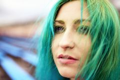 Portrait beautiful young girl with green hair Stock Images